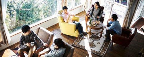 貸別荘のリビングのイメージ