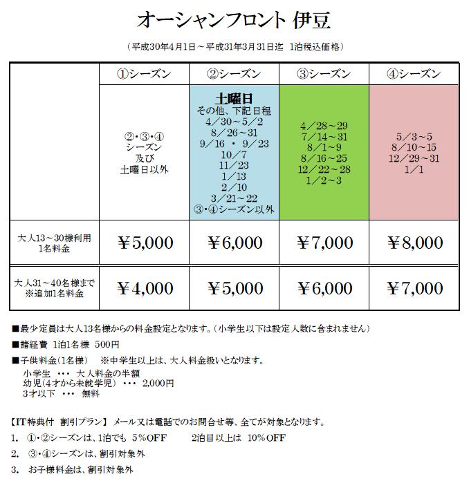 オーシャンフロント伊豆の宿泊料金表