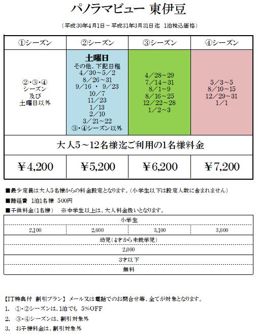 パノラマビュー東伊豆の宿泊料金表